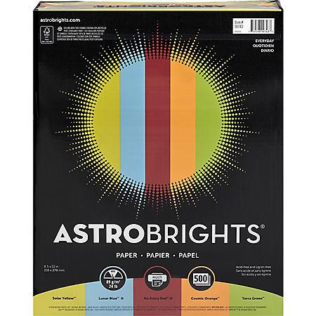 "Astrobrights Color Paper, 24 lb., 8.5"" x 11"", ?Everyday? 5-Color Assortment, 500 Sheets"