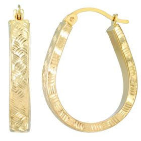 4x28MM Diamond Cut Pear Shaped Hoop Earrings in 14K Yellow Gold