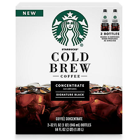 Starbucks Cold Brew Signature Black Medium Roast Coffee Concentrates (32 oz., 2 pk.)