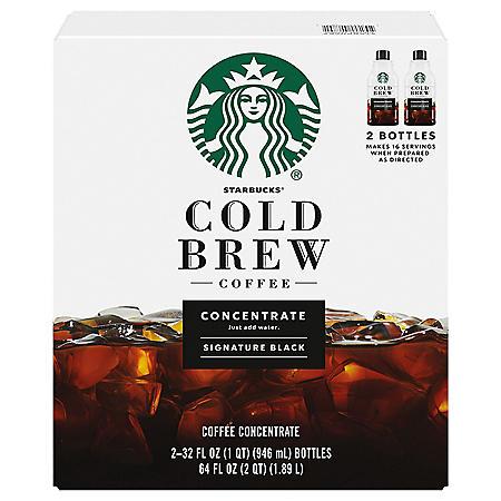 Starbucks Cold Brew Signature Black Medium Roast Coffee Concentrates (32 oz., 2 pk.)