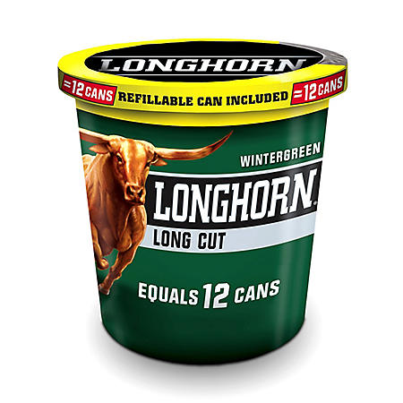 Longhorn Long Cut Snuff, Wintergreen (14.4 oz. tub)