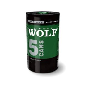 Timber Wolf Long Cut Smokeless Tobacco, Wintergreen (5 can roll)