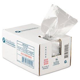 """Food and Utility Poly Bags,1 pint (4""""x 2""""x 8"""", 1000ct.)"""