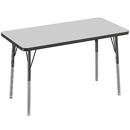 """24"""" x 48"""" Rectangle T-Mold Adjustable Activity Table with Standard Swivel (Assorted Colors)"""