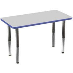 """24"""" x 48"""" Rectangle T-Mold Adjustable Activity Table with Super Leg (Assorted Colors)"""