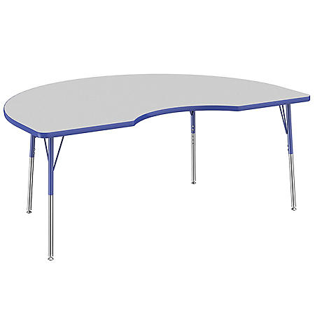 "48"" x 72"" Kidney T-Mold Adjustable Activity Table with Standard Swivel (Assorted Colors)"
