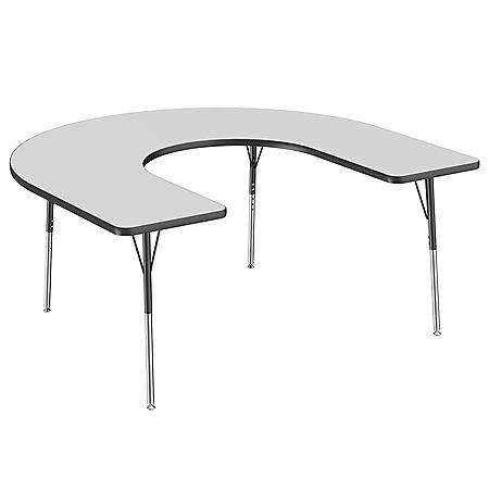 "60"" x 66"" Horseshoe T-Mold Adjustable Activity Table with Standard Swivel (Assorted Colors)"