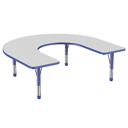 """60"""" x 66"""" Horseshoe T-Mold Adjustable Activity Table with Chunky Leg (Assorted Colors)"""