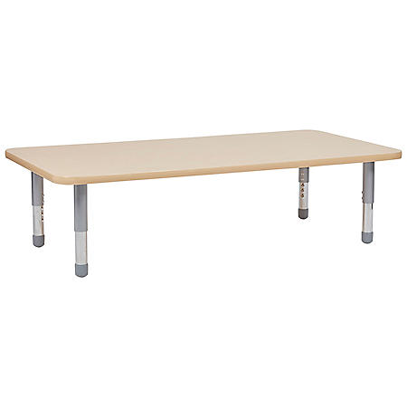 "30"" x 60"" Rectangle T-Mold Adjustable Activity Table with Floor Legs - Maple/Maple"