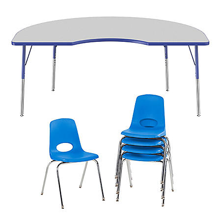 "48"" x 72"" Kidney T-Mold Adjustable Activity Table Standard Swivel with 5 Stack Chairs 18"" Swivel Glide (Gray/Blue)"