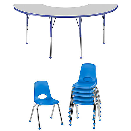 "36"" x 72"" Half Moon T-Mold Adjustable Activity Table Standard Ball with 6 Stack Chairs 16"" Ball Glide (Gray/Blue)"