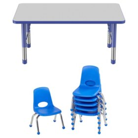 """30"""" x 48"""" Rectangle T-Mold Adjustable Activity Table Chunky Legs with 6 Stack Chairs, 10"""" Ball Glide - Gray/Blue"""