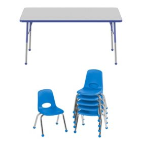 """30"""" x 60"""" Rectangle T-Mold Adjustable Activity Table Standard Ball with 6 Stack Chairs, 12"""" Ball Glide (Assorted Colors)"""