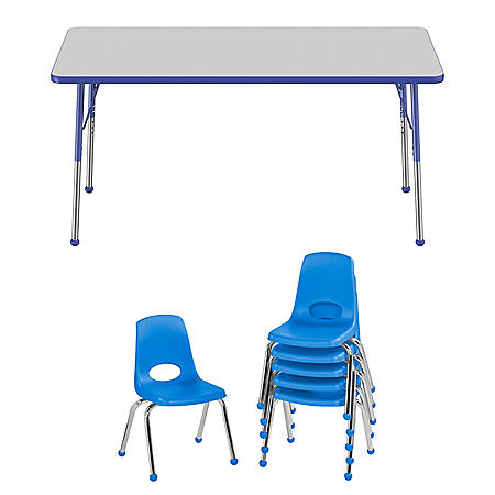 "30"" x 60"" Rectangle T-Mold Adjustable Activity Table Standard Ball with 6 Stack Chairs, 14"" Ball Glide (Assorted Colors)"