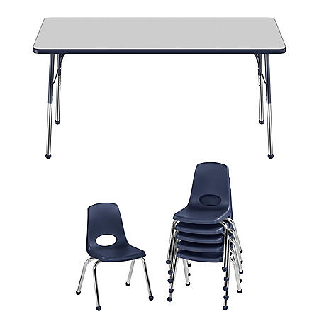 """30"""" x 60"""" Rectangle T-Mold Adjustable Activity Table Standard Ball with 6 Stack Chairs, 14"""" Ball Glide (Assorted Colors)"""