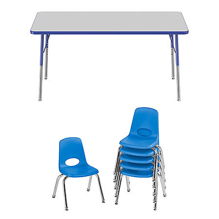 "30"" x 60"" Rectangle T-Mold Adjustable Activity Table Standard Swivel with 6 Stack Chairs, 12"" Swivel Glide  (Assorted Colors)"