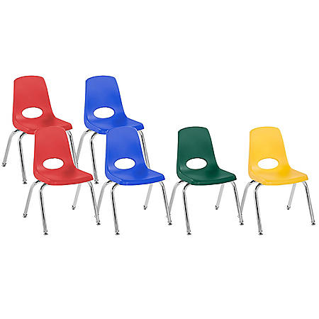 """14"""" Stack Chair Swivel Glide, 6-Piece (Assorted Colors)"""