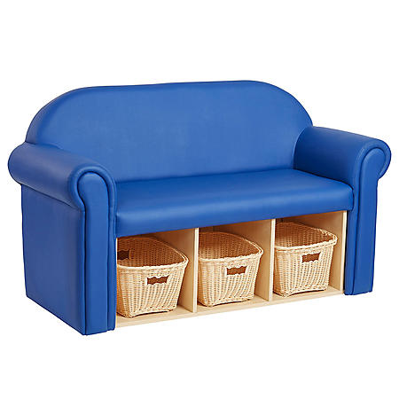 Little Lux Youth Sofa With Bins (Blue) by Factory Direct