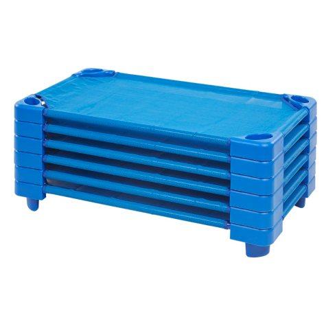 ECR4Kids Assembled Stackable Standard Cots, Blue - 5 pack