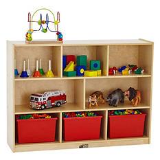 ECR4Kids 8 Section Wood Storage Cabinet, Natural Wood