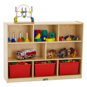 ECR4Kids 8 Section Wood Storage Cabinet, Natural Wood