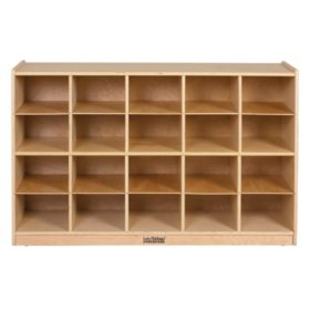 ECR4Kids Birch Storage Cabinet with 20 Tray Cubbies