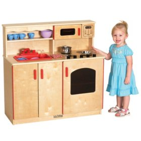ECR4Kids 4-in-1 Dramatic Play Wood Kitchen Center