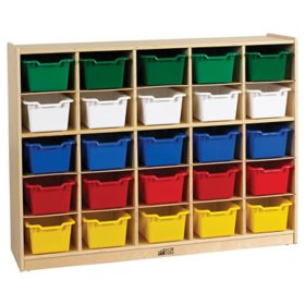 ECR4Kids 25-Section Wood Cabinet with 25 Assorted Bins