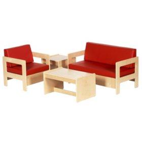 ECR4Kids Children's Living Room Set,  Natural Finish (4 pc.)