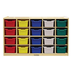 ECR4Kids Birch 20-Tray Cabinet with Assorted-Color Bins