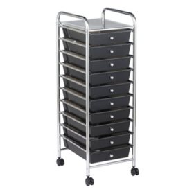 ECR4Kids 10 Drawer Mobile Organizer, Smoke