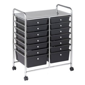 ECR4Kids 14 Drawer Mobile Organizer, Smoke