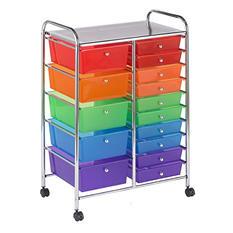ECR4Kids 15 Drawer Mobile Organizer, Assorted Colors