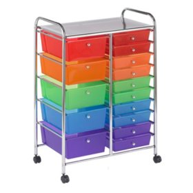 ECR4Kids 15 Drawer Mobile Organizer, Assorted Colors