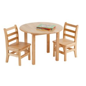 """Children's 30"""" Round Hardwood Table Set with 2 Ladder-Back Chairs"""