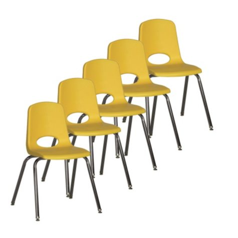 "ECR4Kids 18"" Adult School Stack Chair, Select Color - 5 pack"