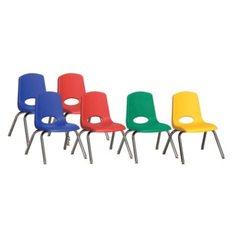 """ECR4Kids 12"""" Stack Chair Chrome Legs with Swivel Glides - Assorted Colors - 6 pack"""