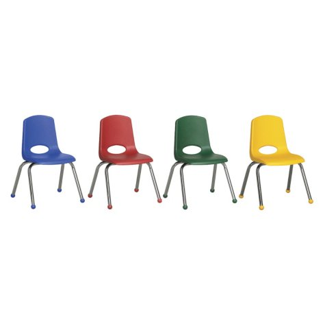 """ECR4Kids 14"""" Stack Chair Chrome Legs with Ball Glides, Assorted Colors - 6 Pack"""