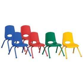 "ECR4Kids 10"" Stack Chair with Matching Legs & Ball Glides, Assorted Colors (6 Pack)"