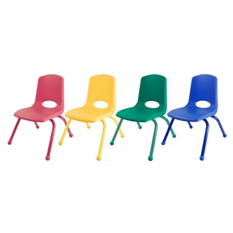 """ECR4Kids 12"""" Stack Chair Matching Legs with Ball Glides, Assorted Colors - 6 pack"""