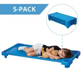 ECR4Kids Assembled Stackable Standard Cots, Blue - 5 pack