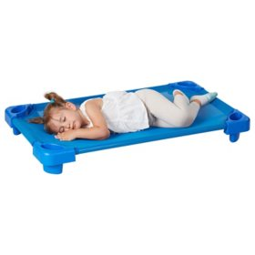 ECR4Kids Unassembled Stackable Toddler Cots, Blue- 5 pack