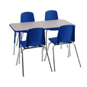 """ECR4Kids Combo-One 24"""" Rectangular Table and Four 14"""" Chairs, Select Color"""