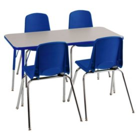ECR4Kids Combo-One 4' Rectangular Table and 4 Stacking Chairs, Blue