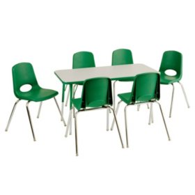 "ECR4Kids Combo-One 24"" Rectangular Table and Six 10"" Chairs, Select Color"