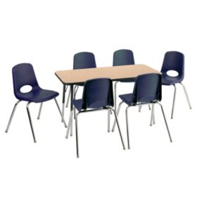 "ECR4Kids Combo-One 24"" Rectangular Table and Six 10"" Chairs, Oak/Navy"