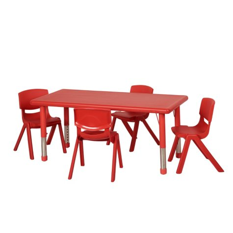 """ECR4Kids 48"""" Rectangular Resin Table with Matching 16"""" Chairs, Select Color"""