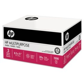 HP Multipurpose Paper, 20lb, 96 Bright,  8 1/2 x 11, White,  1,500 Sheets/Carton