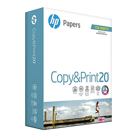 """HP Copy and Print20, 20lb, 92 Bright, 8.5 x 11"""", 1 Ream of 750 Sheets"""