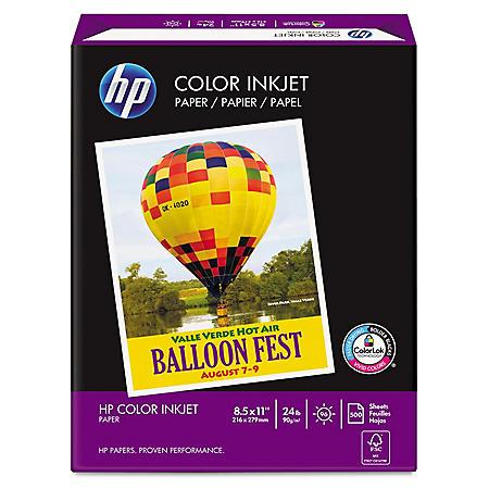 HP Color Inkjet Paper, 24lb, 96 Bright, 8 1/2 x 11, White, 500 Sheets/Ream